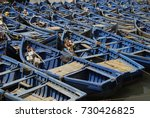 blue boats in the port of... | Shutterstock . vector #730426825
