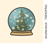 christmas tree in snow globe... | Shutterstock .eps vector #730429561