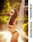 pretty woman taking shower at... | Shutterstock . vector #730429819