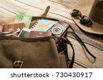 traveler items vacation travel... | Shutterstock . vector #730430917