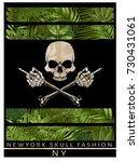 new york typography with skull... | Shutterstock .eps vector #730431061