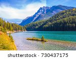 the magnificent lake two jack.... | Shutterstock . vector #730437175