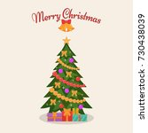 decorated christmas tree. ... | Shutterstock .eps vector #730438039
