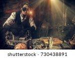 scientist inventor steampunk... | Shutterstock . vector #730438891