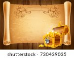 opened treasure chest and... | Shutterstock .eps vector #730439035