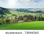 farmland landscape in the springtime - stock photo