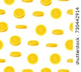 golden coin seamless pattern in ... | Shutterstock .eps vector #730442914