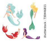Set Of Mermaids Isolated On...
