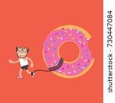 running man with donut health...   Shutterstock .eps vector #730447084