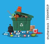 plastic garbage bin full of... | Shutterstock . vector #730449019