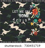 camouflage pattern with flowers ... | Shutterstock .eps vector #730451719