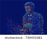 jazz saxophone player jazz... | Shutterstock .eps vector #730453381
