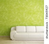 Interior square background with white sofa and green wall - stock photo
