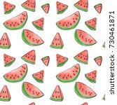 watermelon watercolor  seamless ... | Shutterstock .eps vector #730461871
