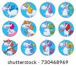 vector set of twelve round blue ... | Shutterstock .eps vector #730468969