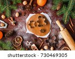 gingerbread cookies preparation.... | Shutterstock . vector #730469305