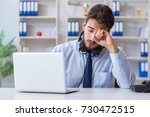 call center employee working in ...   Shutterstock . vector #730472515