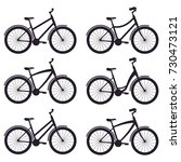 simple bicycles silhouettes... | Shutterstock .eps vector #730473121