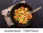 stir fried noodles with shrimps ... | Shutterstock . vector #730473631