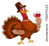 thanksgiving day. turkey in a... | Shutterstock .eps vector #730479115