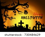 scary halloween background with ...   Shutterstock .eps vector #730484629