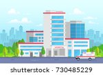 city hospital with ambulance  ... | Shutterstock .eps vector #730485229