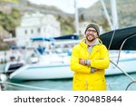 young attractive man in a... | Shutterstock . vector #730485844