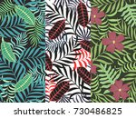 set of three seamless floral... | Shutterstock .eps vector #730486825