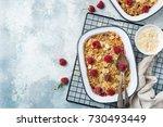 raspberry oats crumble pie... | Shutterstock . vector #730493449