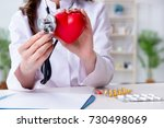 doctor cardiologist with red... | Shutterstock . vector #730498069