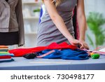 young woman tailor working in... | Shutterstock . vector #730498177