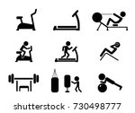 set of workout and gym machines ...   Shutterstock .eps vector #730498777