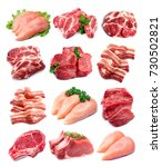 set of meat closeup on white... | Shutterstock . vector #730502821