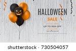 halloween sale web banner with... | Shutterstock .eps vector #730504057