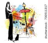fashion girl in sketch style in ... | Shutterstock . vector #730511317
