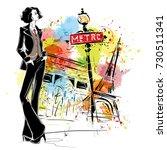 fashion girl in sketch style in ... | Shutterstock . vector #730511341