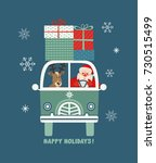 happy holidays poster. cute... | Shutterstock .eps vector #730515499