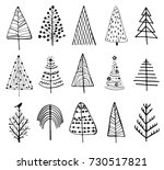 15 designs of doodle christmas... | Shutterstock .eps vector #730517821