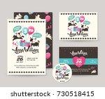 cute black cat theme happy... | Shutterstock .eps vector #730518415