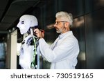 businessman or a scientist with ... | Shutterstock . vector #730519165