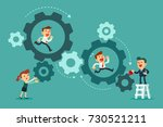 business team running in set of ... | Shutterstock .eps vector #730521211