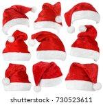 set of red christmas santa... | Shutterstock . vector #730523611