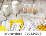 lot of medicines  syringe ... | Shutterstock . vector #730524079