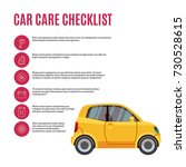 cars care checklist. yellow car ... | Shutterstock .eps vector #730528615