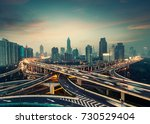 beautiful city interchange... | Shutterstock . vector #730529404