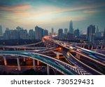 beautiful city interchange... | Shutterstock . vector #730529431