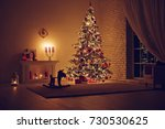 house in christmas  | Shutterstock . vector #730530625