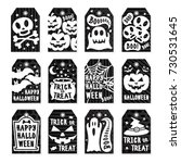 happy halloween tags set white... | Shutterstock . vector #730531645