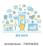 big data vector. set of thin... | Shutterstock .eps vector #730536301