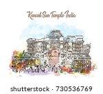 watercolor sketch with splash... | Shutterstock .eps vector #730536769